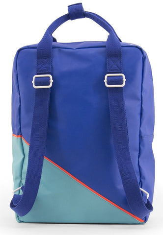 Large backpack diagonal ink blue / retro mint - Sticky Lemon