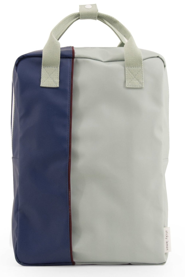 Large backpack vertical - sage green / dark blue