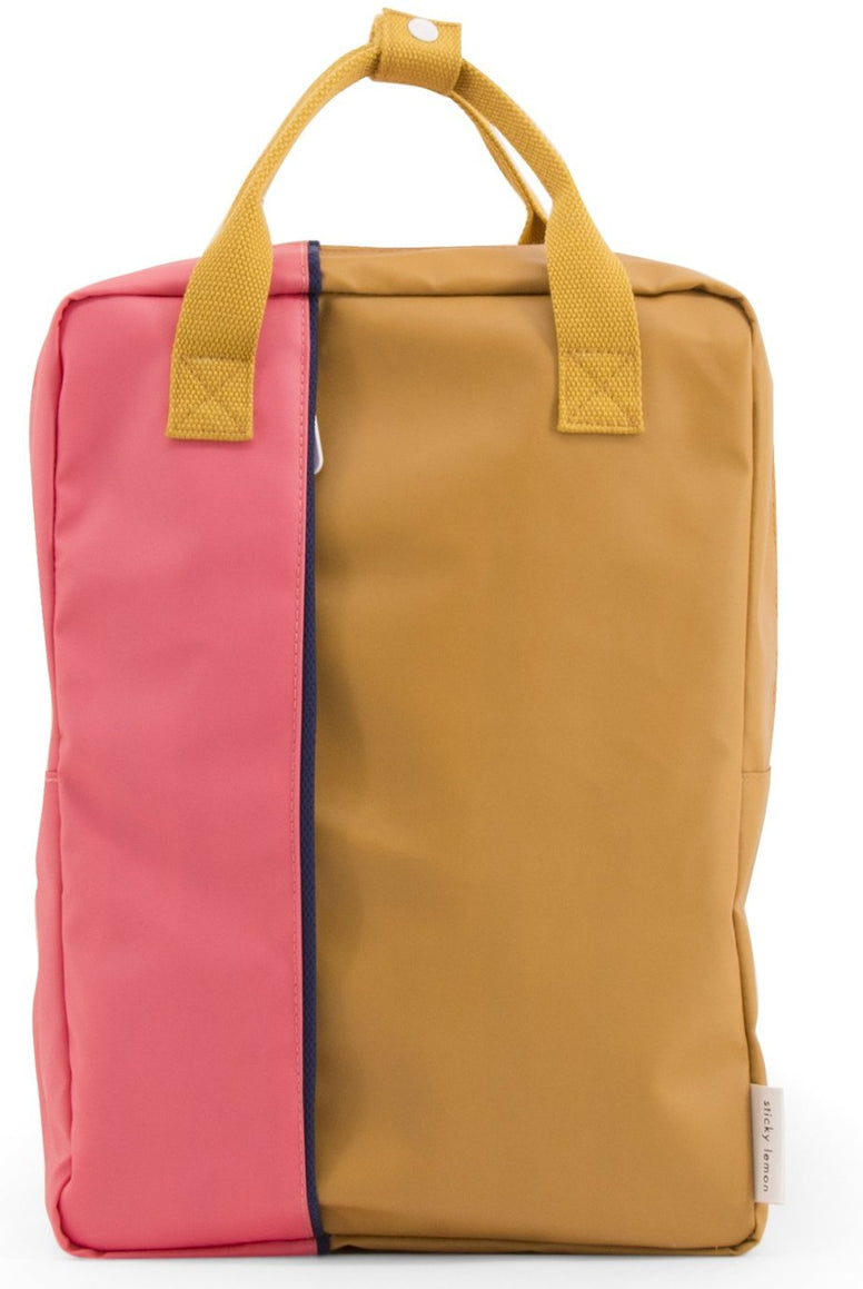 Large backpack vertical - powder caramel fudge / watermelon pink