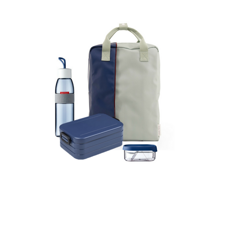 Offer - Sticky Lemon Backpack, bento & water bottle - Sage Green/Nordic Denim