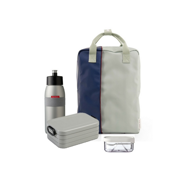 Offer - Sticky Lemon Backpack, bento & sports bottle - Sage Green/Nordic Denim