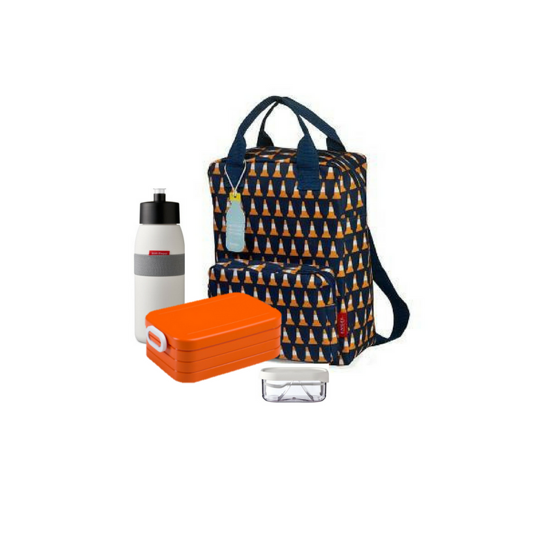 Offer - Engel Backpack, bento & sports bottle - Navy with Pylon/Orange & White
