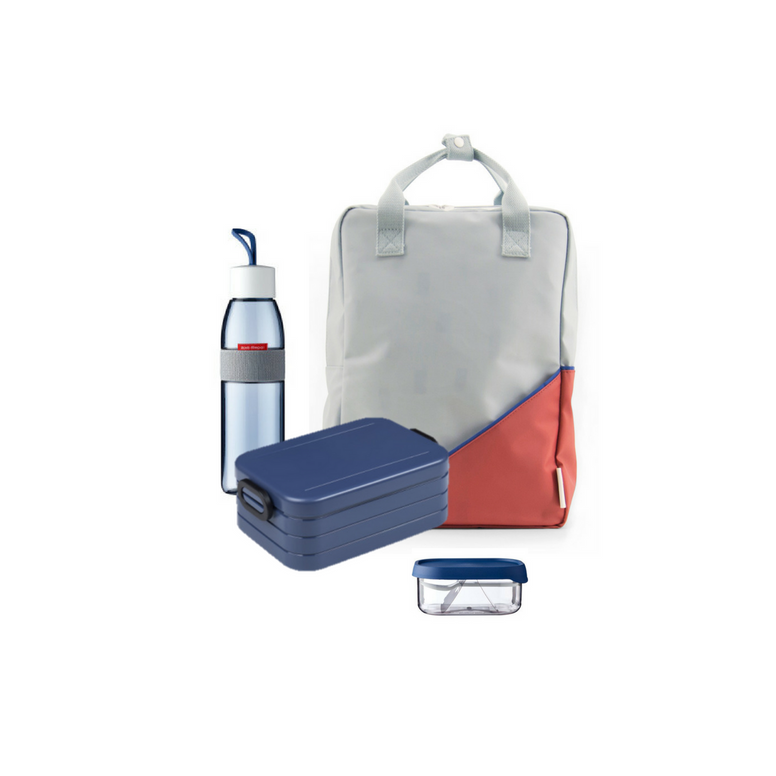 Offer - Sticky Lemon Backpack, bento & water bottle - Power Blue/Faded Red