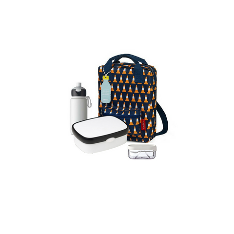 Offer - Engel Backpack small, bento & pop-up bottle - Navy with Pylon/Orange & White