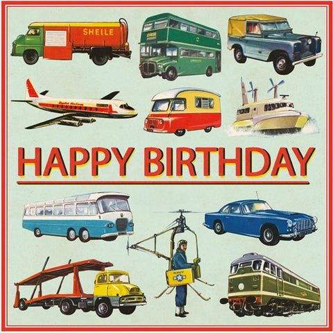 Birthday card - Vintage Transport