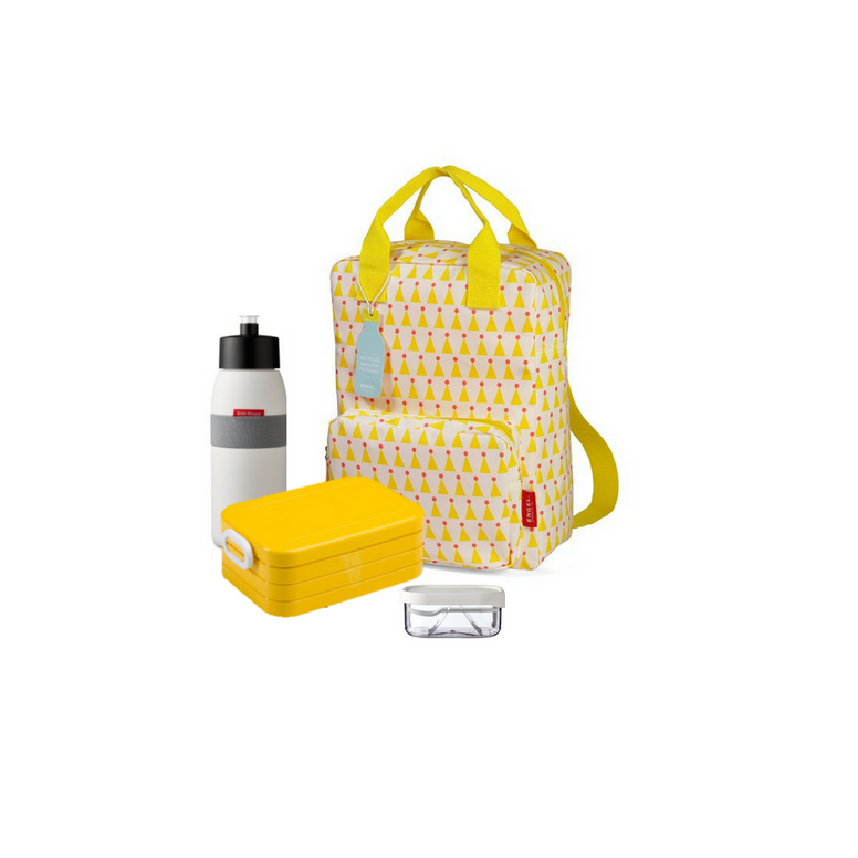Offer - Engel Backpack, bento & sports bottle - Yellow with Party Hats/Yellow & White