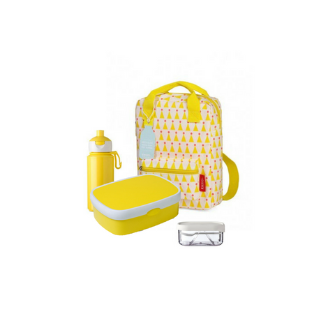 Offer - Engel Backpack small, bento & pop-up bottle - Yellow with Party Hats/Yellow & White