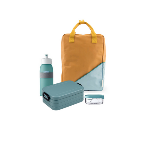 Offer - Sticky Lemon Backpack, bento & sports bottle - Fudge/Nordic Green