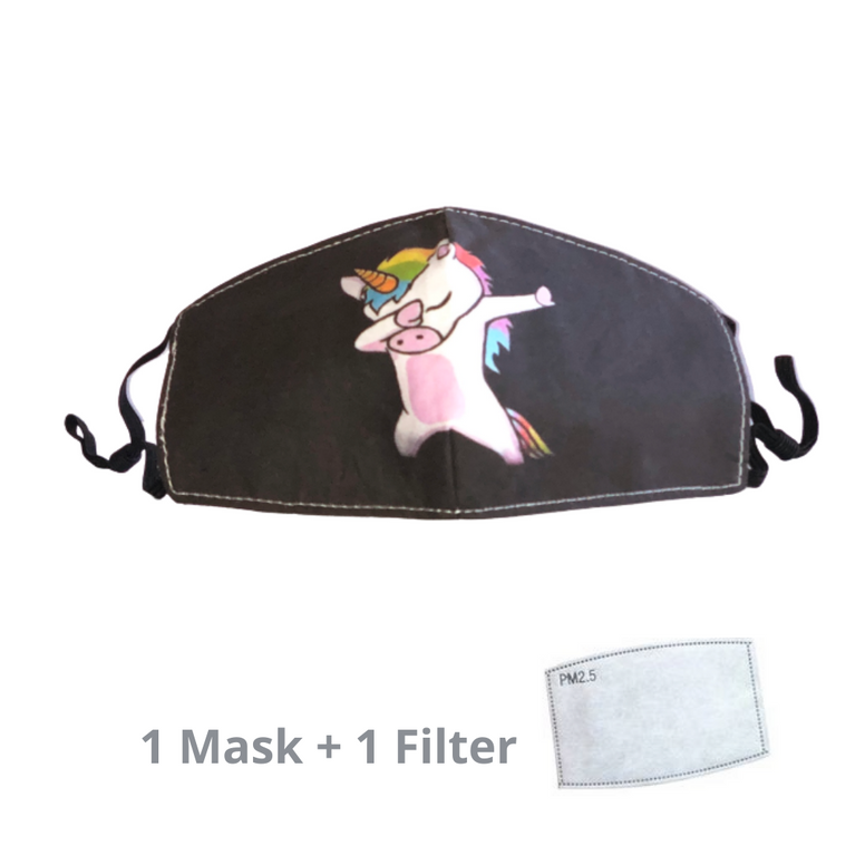 Stylish Re-usable Kids' Face Mask - Unicorn Dab