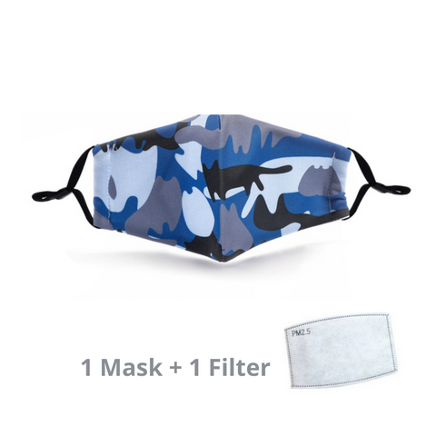 Stylish Re-usable Kids' Face Mask - Camo Blue