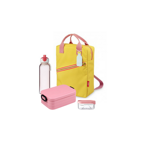 Offer - Engel Backpack, bento & water bottle - Yellow/Nordic Pink