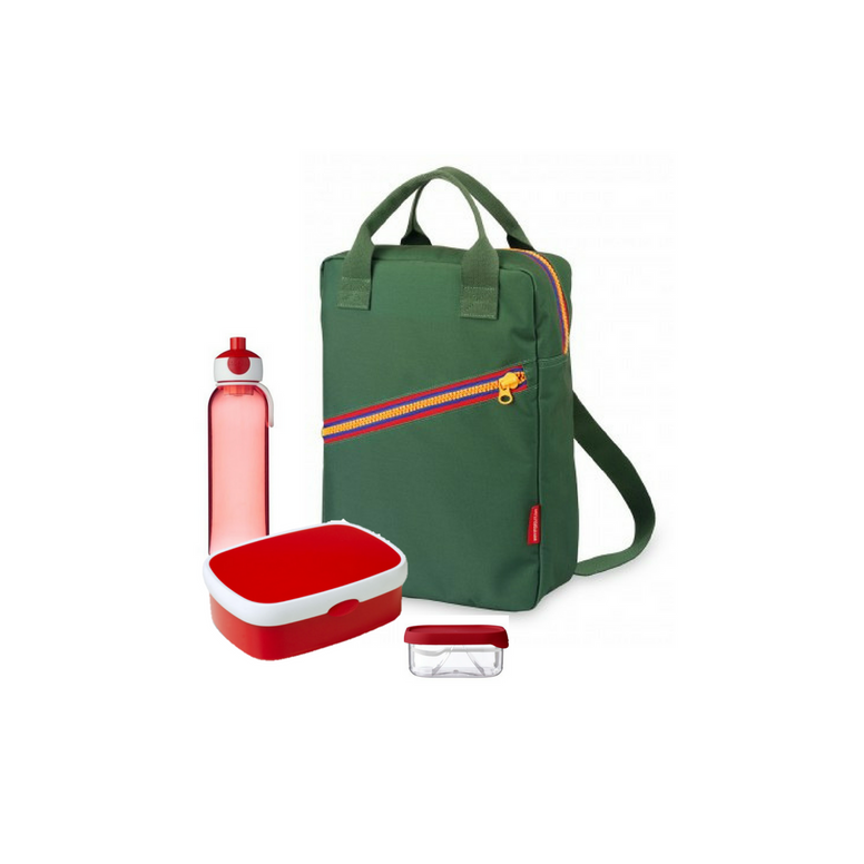 Offer - Engel Backpack, bento & water bottle - Green/Red