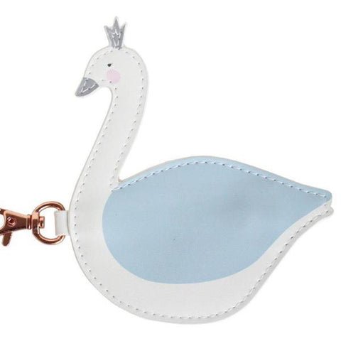 Little Coin Purse - White & Blue Swan