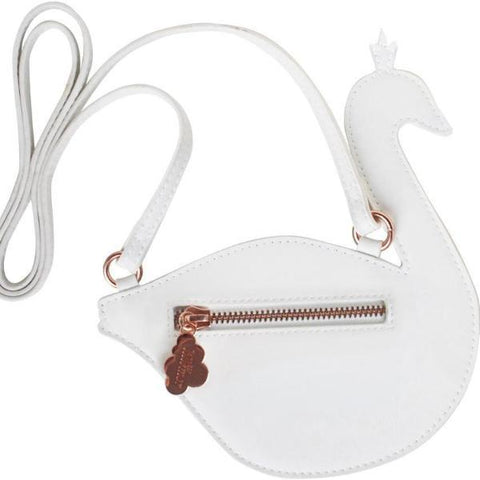 Little Cross Body Shoulder Bag - White & Blue Swan
