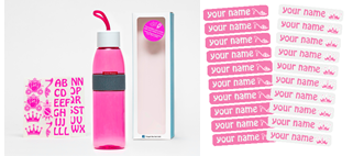 Set DIY Princess - Ellipse pink bottle - 500ml + Name label set