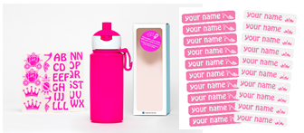 Set DIY Princess - Popup pink bottle - 275ml + Name label set