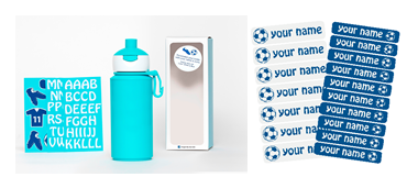 Set DIY Soccer - Popup blue bottle - 275ml + Name label set