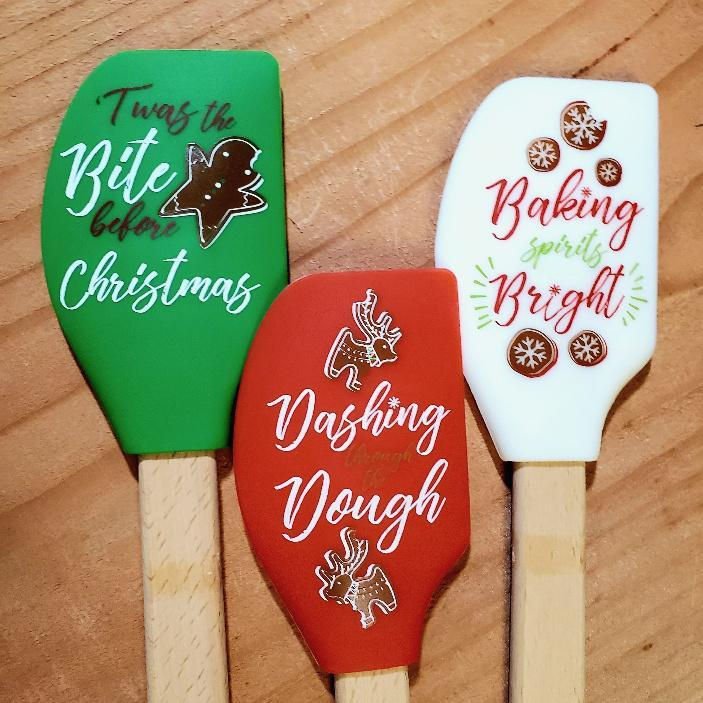 Holiday Silicone Spatulas with Conversion Chart 3 Pack Discount (One of Each)