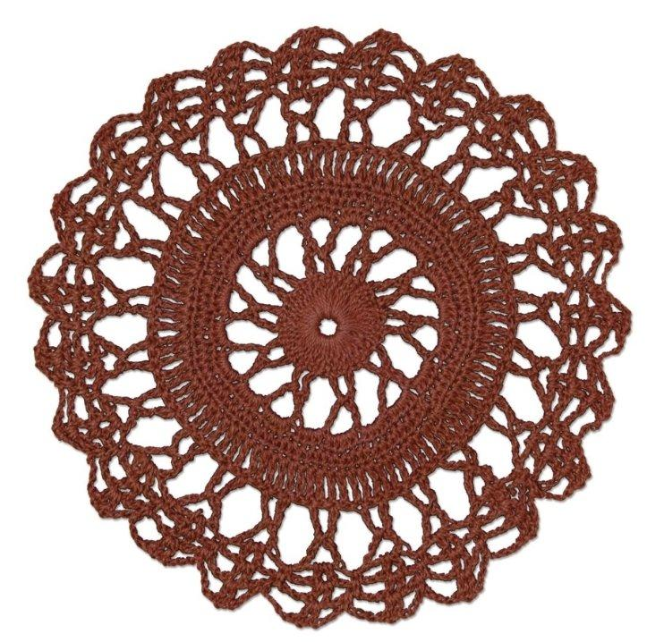 "Crochet Envy Lacey Doily 6"" Round / Ginger Spice"