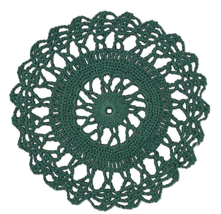"Crochet Envy Lacey Doily 6"" Round / Teal"
