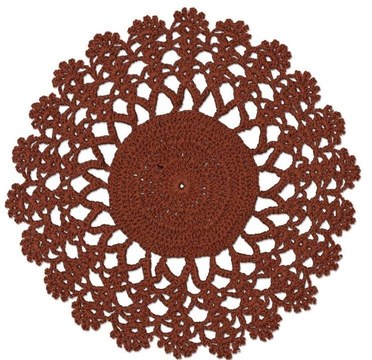 "Crochet Envy Lacey Doily 8"" Round / Ginger Spice"