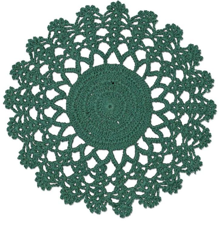 "Crochet Envy Lacey Doily 8"" Round / Teal"