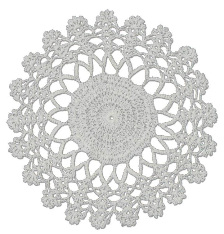 "Crochet Envy Lacey Doily 8"" Round / White"
