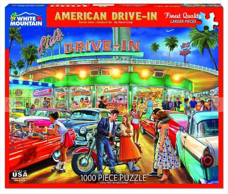 American Drive In 1000 Piece Jigsaw Puzzle by White Mountain Puzzle