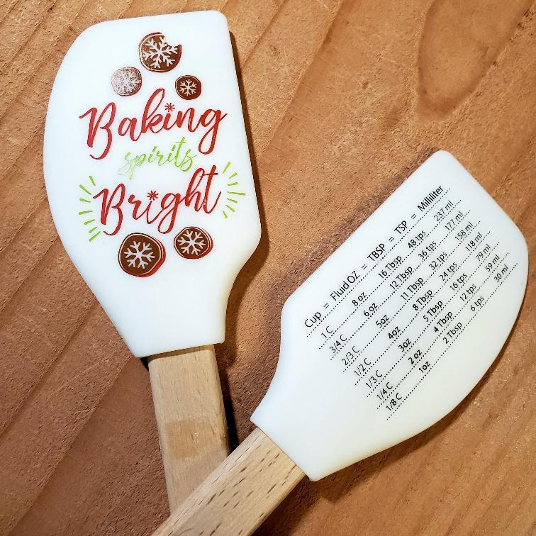 Holiday Silicone Spatulas with Conversion Chart Baking Spirits Bright (White)