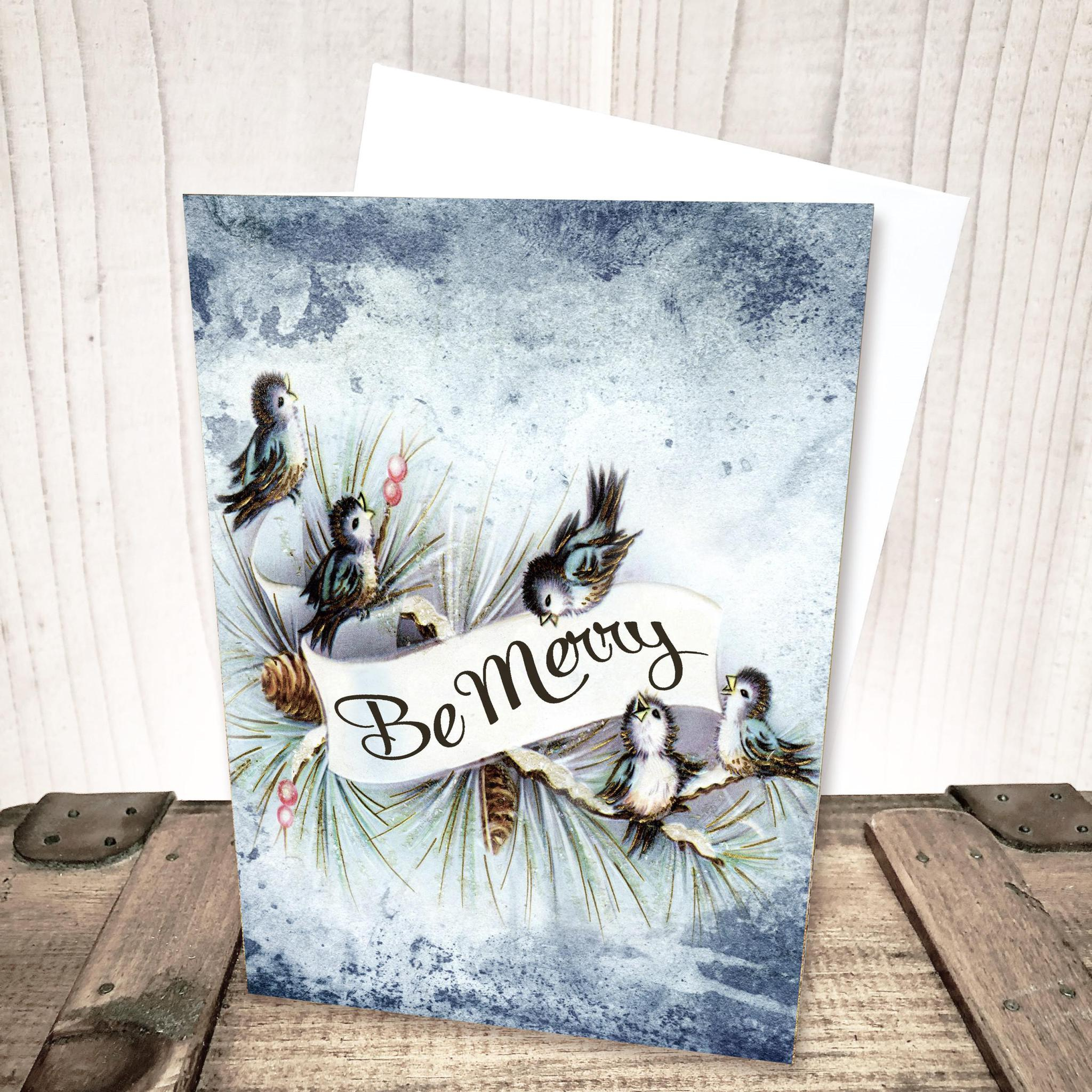 Be Merry Blue Birds Christmas Card by Yesterday's Best