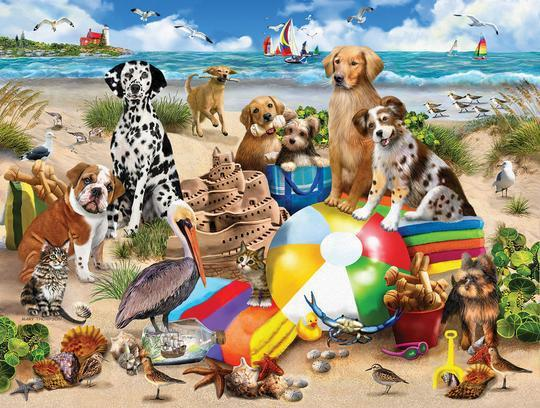 Beach Buddies 550 Piece Dog Jigsaw Puzzle by White Mountain Puzzle