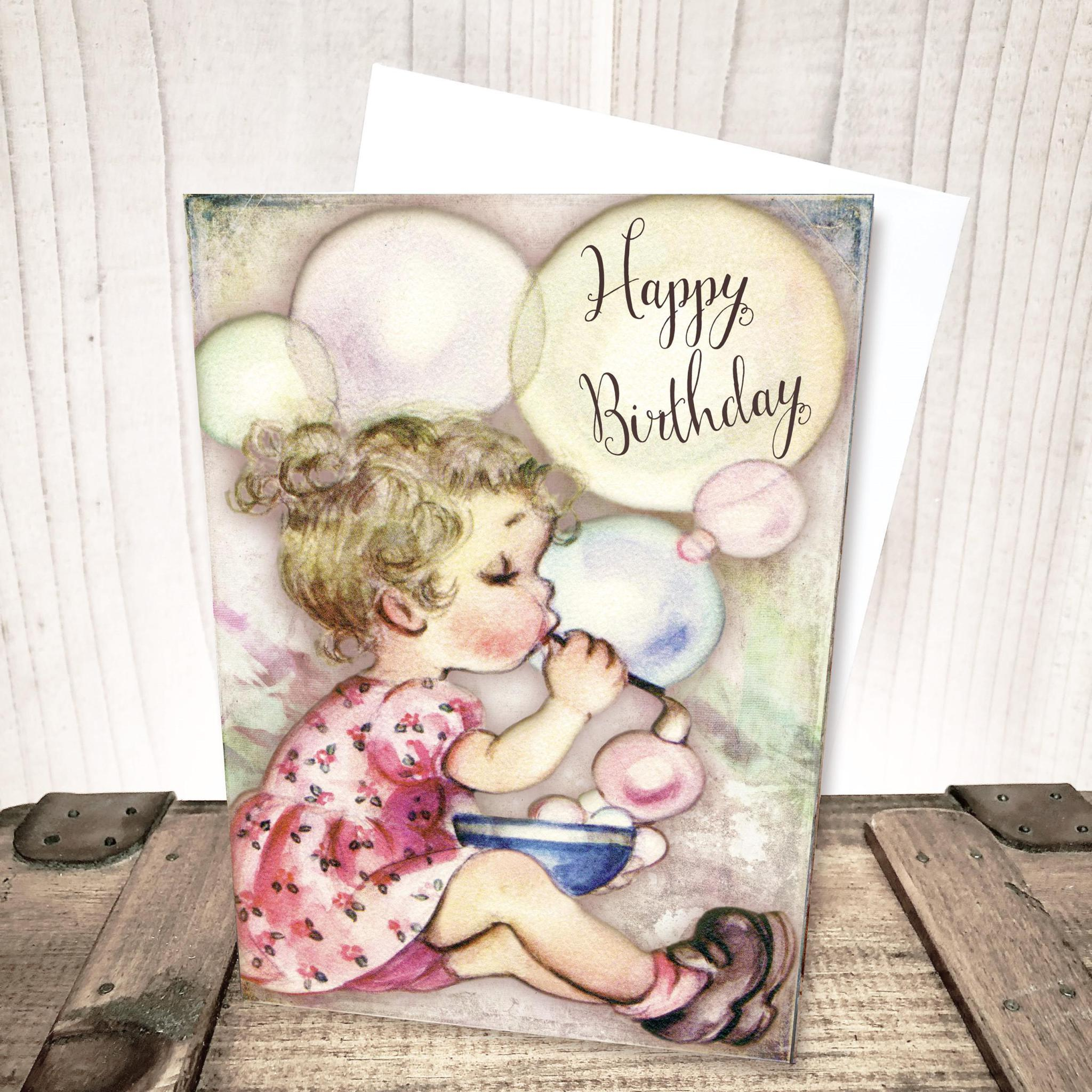 Blowing Bubbles Birthday Card by Yesterday's Best