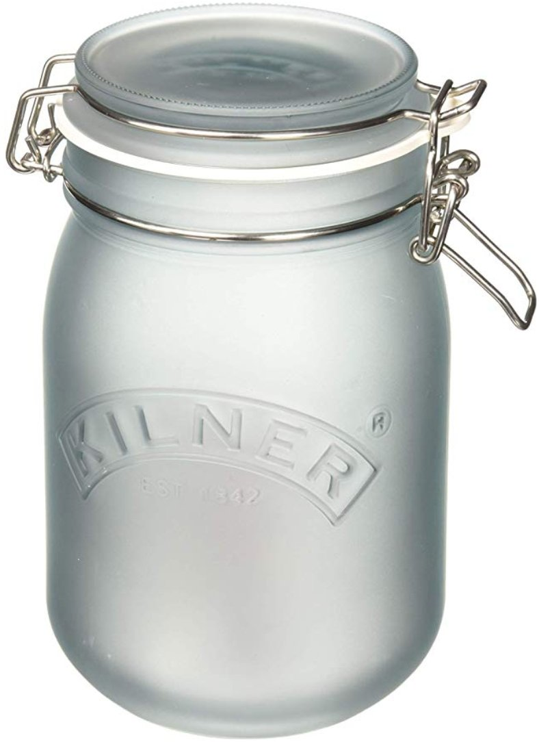 Kilner White Frosted Clip Top Jar, 1L Blue