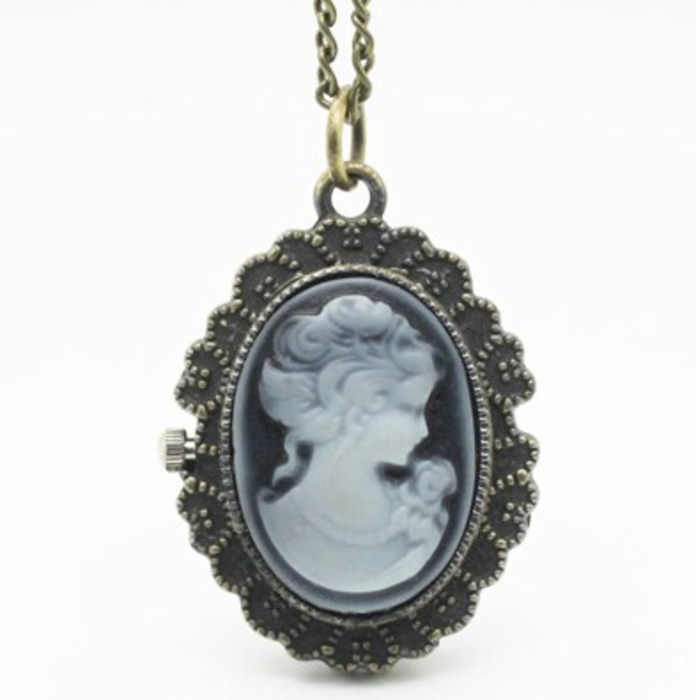 Victorian Lady Rose Fashion Jewelry Open Faced Pocket Watch Necklace Pendant Blue Lady