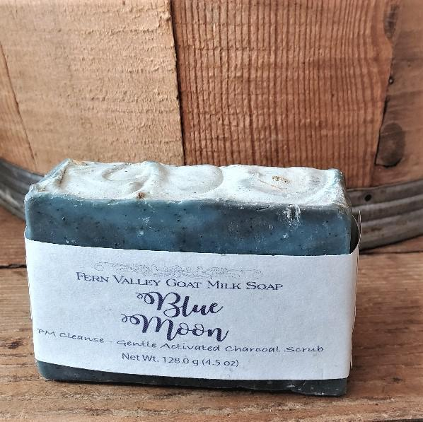 Fern Valley Goat Milk Soap Bars Blue Moon: Activated Charcoal Scrub