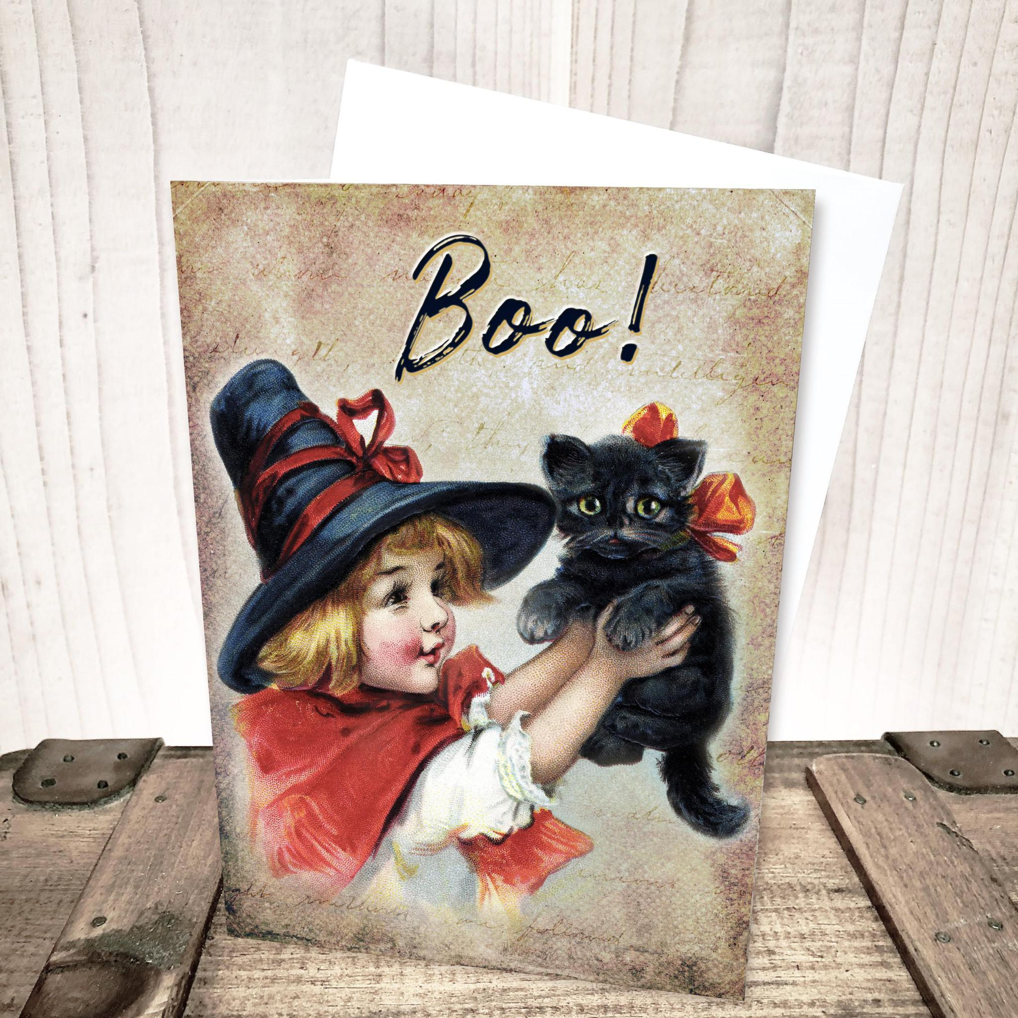 Boo!  Girl with Black Cat Halloween Card by Yesterday's Best