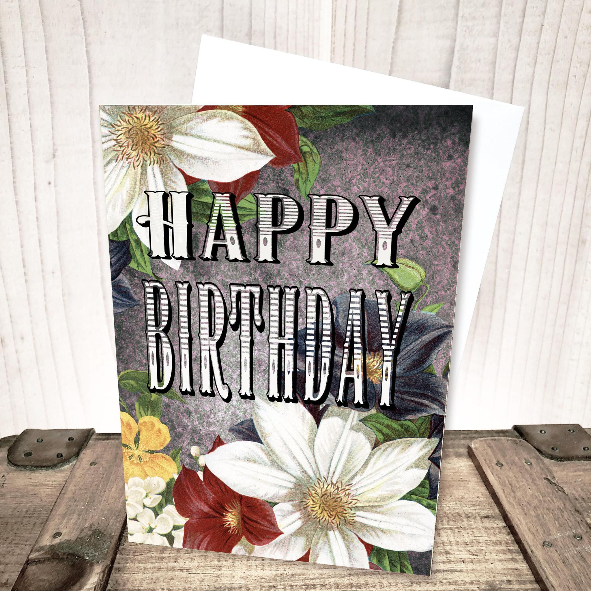 Bright and Bold Floral Birthday Card by Yesterday's Best