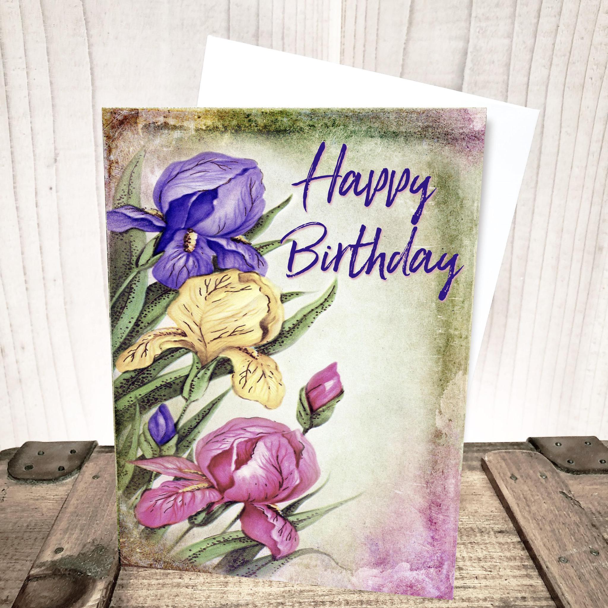 Bright Iris Floral Birthday Card by Yesterday's Best