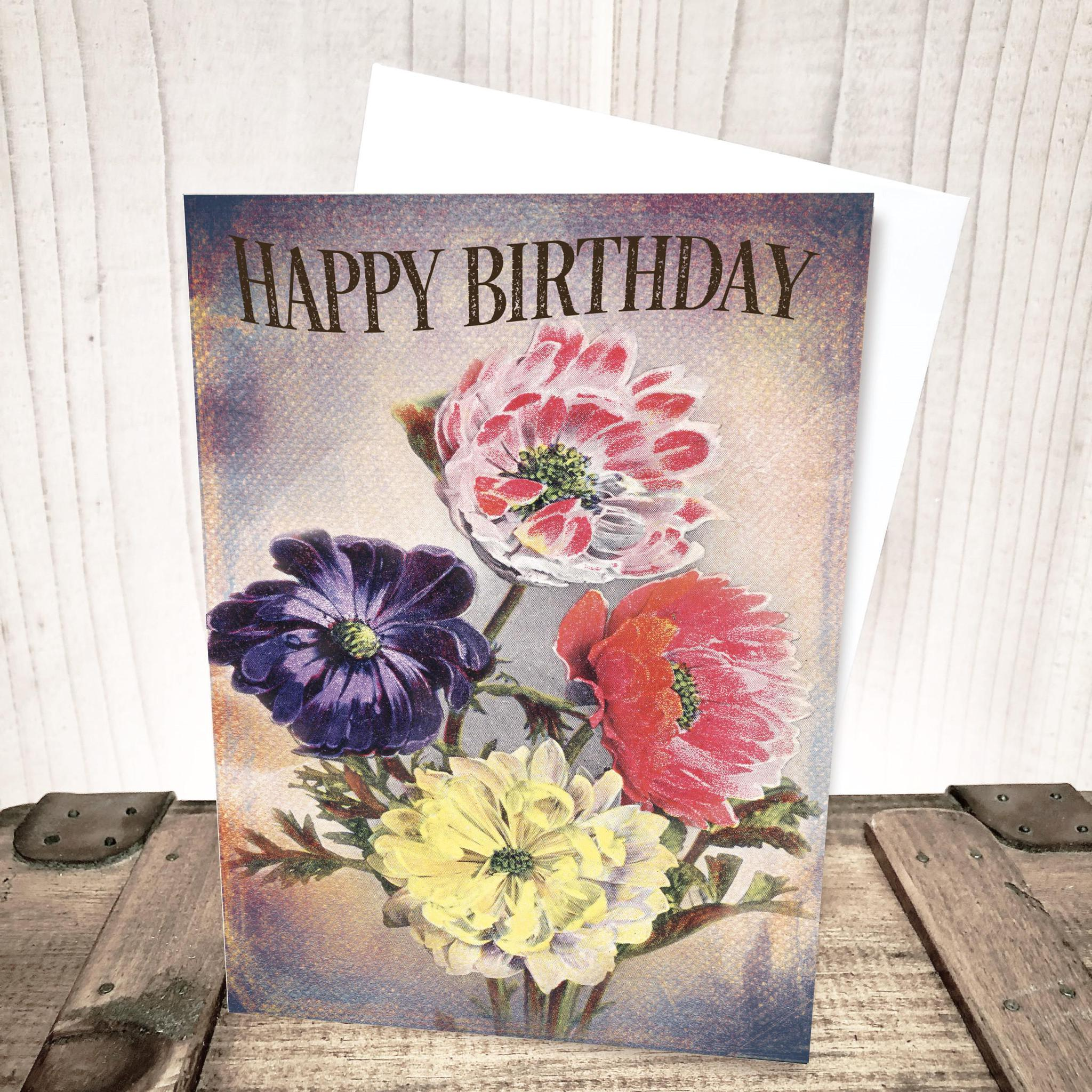 Bright Vintage Floral Birthday Card by Yesterday's Best