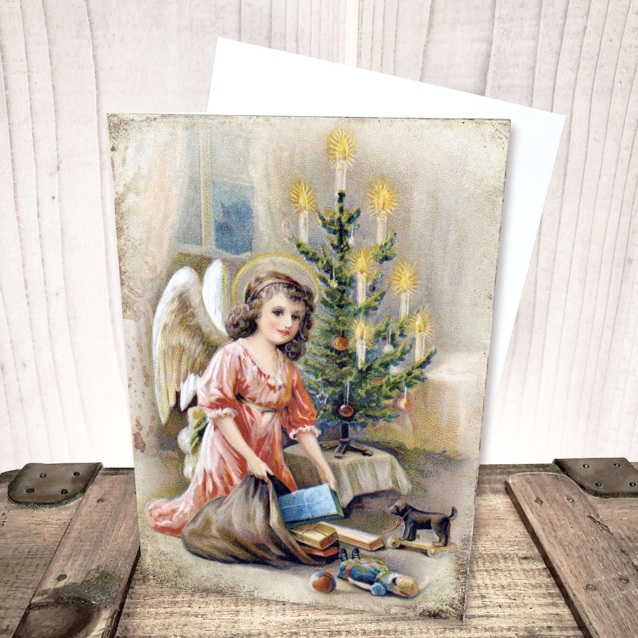 Brown Hair Angel Christmas Card by Yesterday's Best