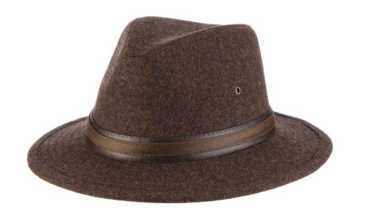 "Hoagy Wool Blend Safari with 2 1/2"" Brim Brown Large"