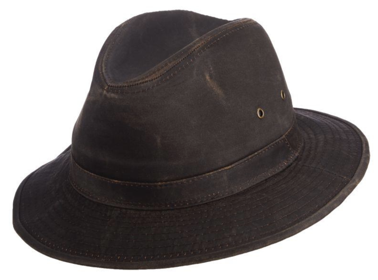 The Trek Weathered Cotton Safari Hat with 2 1/4' Brim by Scala Brown Large