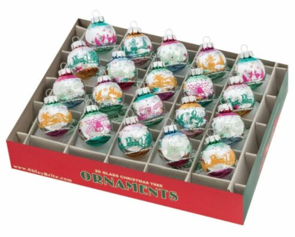 "Celebration 1.25"" Vintage Signature Flocked Box of 20 Ornament by Shiny Brite"