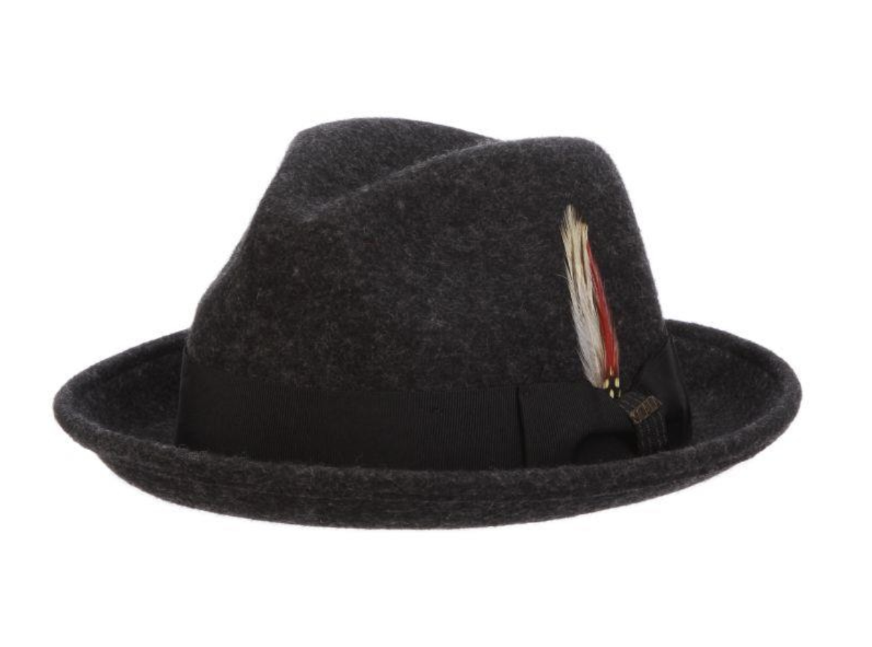 Baltimore Crushable, Water Repellent Wool Felt Fedora with 2' Brim by Scala Charcoal Large