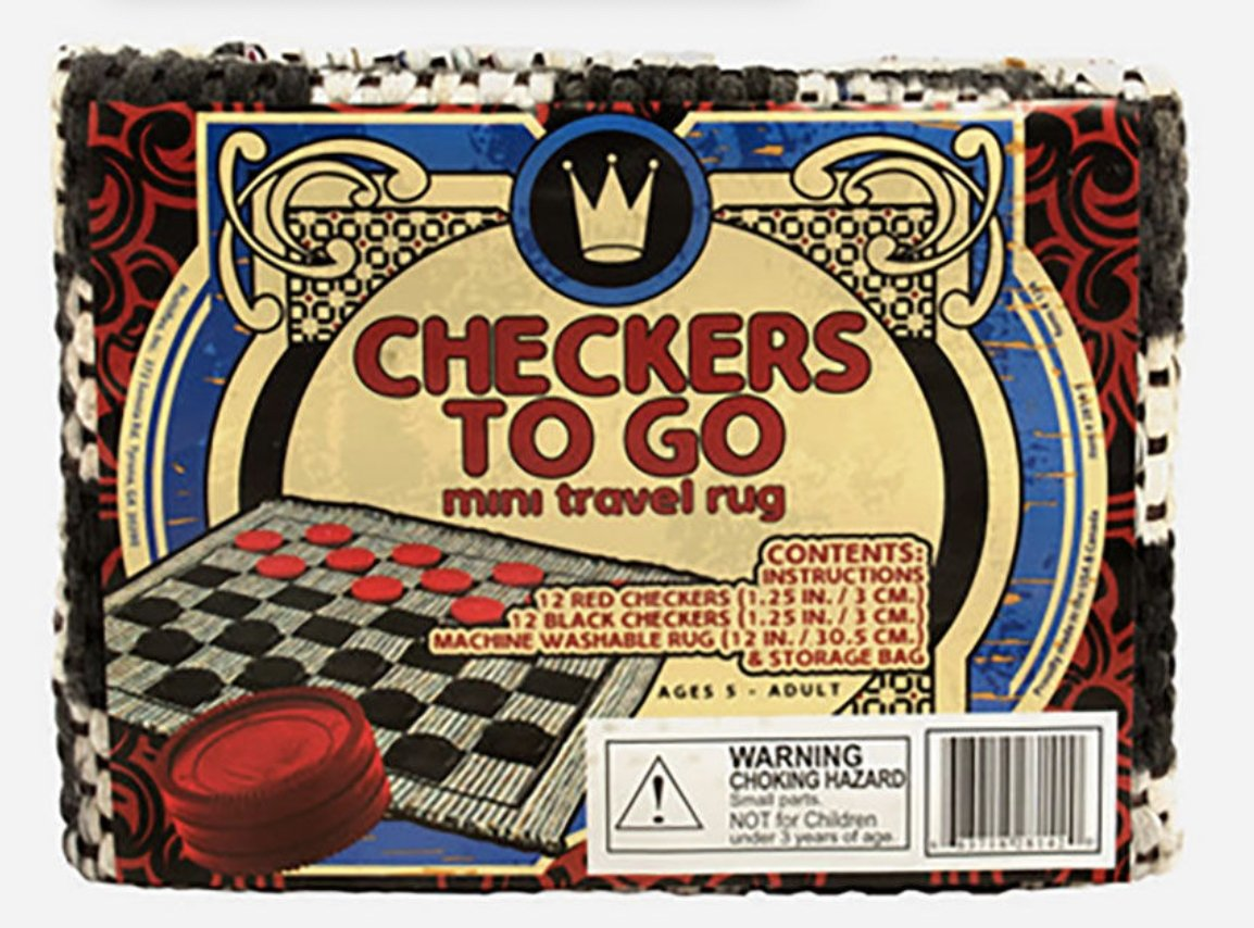 Checkers To Go Mini Travel Rug Game
