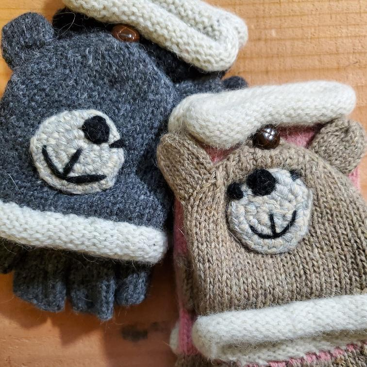 Children's Fingerless Gloves with Convertible Mitten Flap
