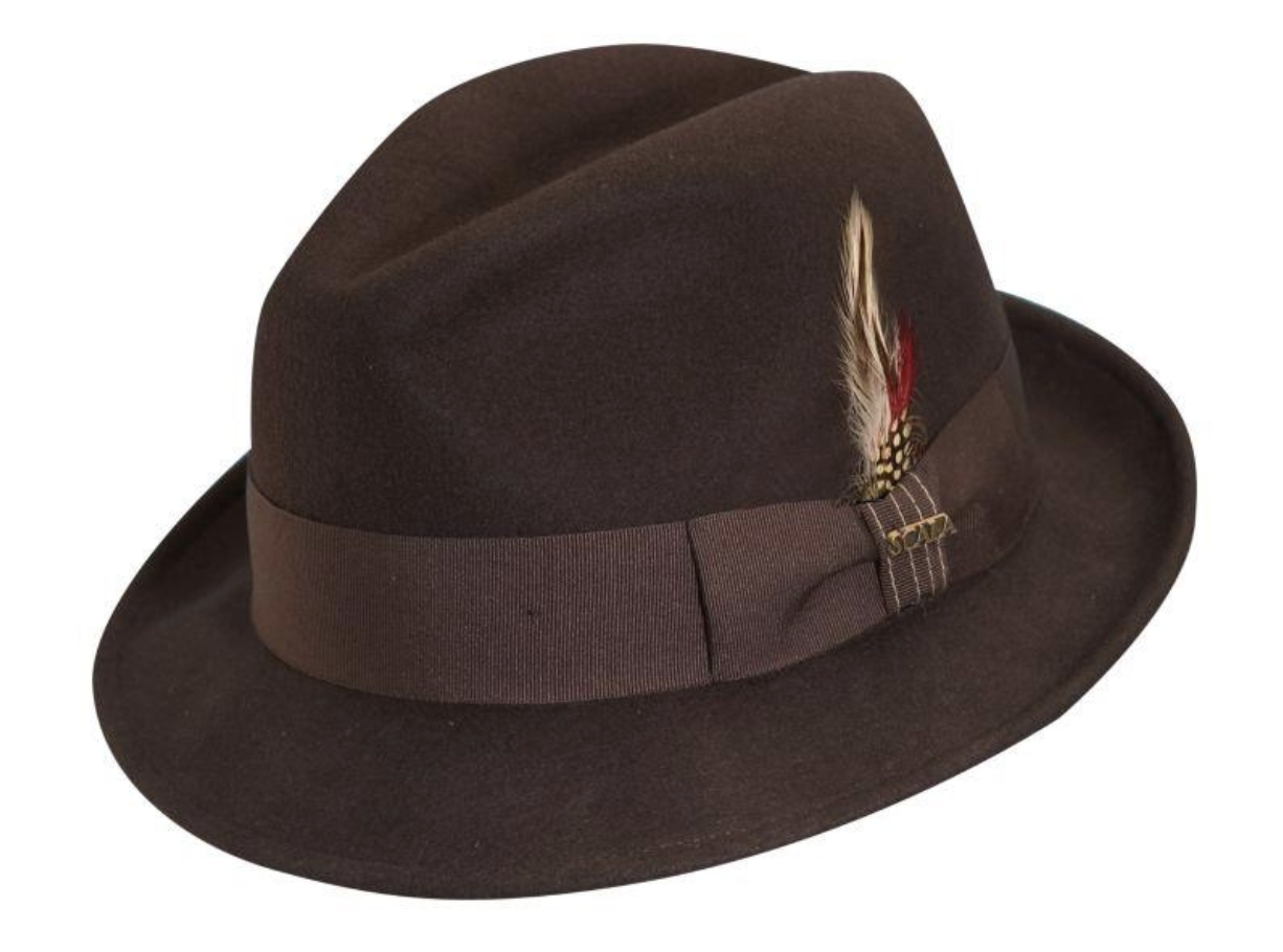 Baltimore Crushable, Water Repellent Wool Felt Fedora with 2' Brim by Scala Chocolate Large