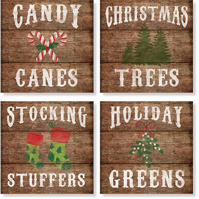 "Coasters Set of 4  ""Rustic Holiday"""