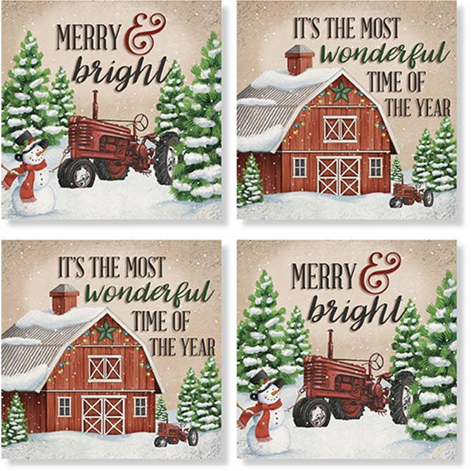 "Coasters Set of 4  ""Winter Barn"""