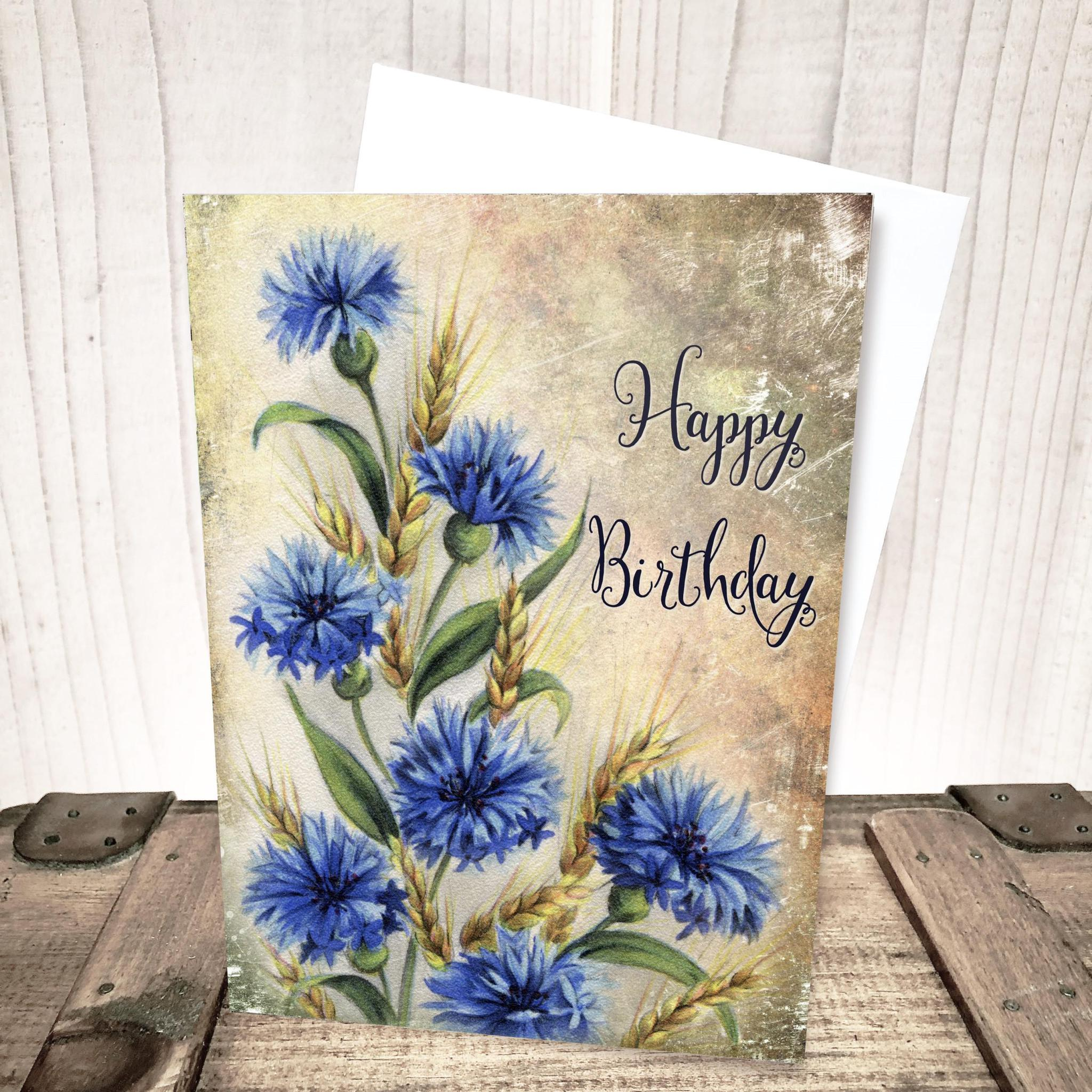 Cornflower Floral Birthday Card by Yesterday's Best
